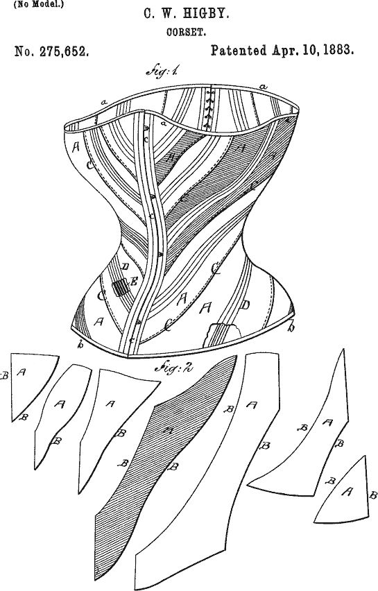 Corset patent 1883