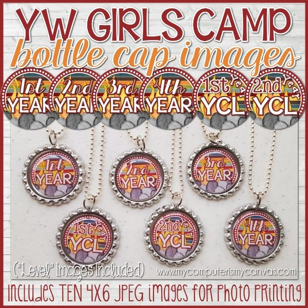 "YW CAMP CRAFT, YW Camp Certification Level Bottle Caps - make them up as gifts and let the girls wear them all week! Also comes with ""LEVEL"" images! #mycomputerismycanvas"