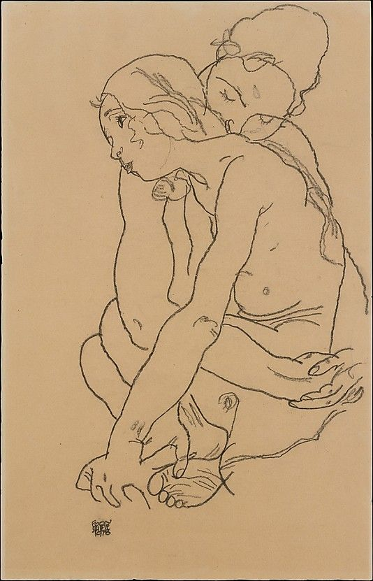Two Women Embracing  Egon Schiele  (Austrian, Tulln 1890–1918 Vienna)  Date: 1918  Medium: Charcoal on paper