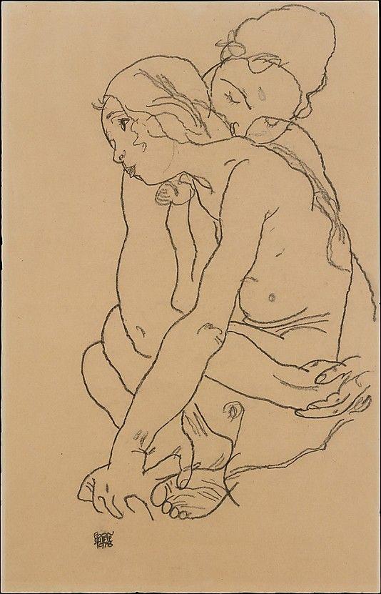 Two Women Embracing Egon Schiele (Austrian, Tulln 1890–1918 Vienna) Date: 1918 Medium: Charcoal on paper