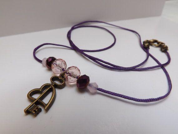 dark purple cord key heart charm beaded necklace by LizzyNicholls, £4.50