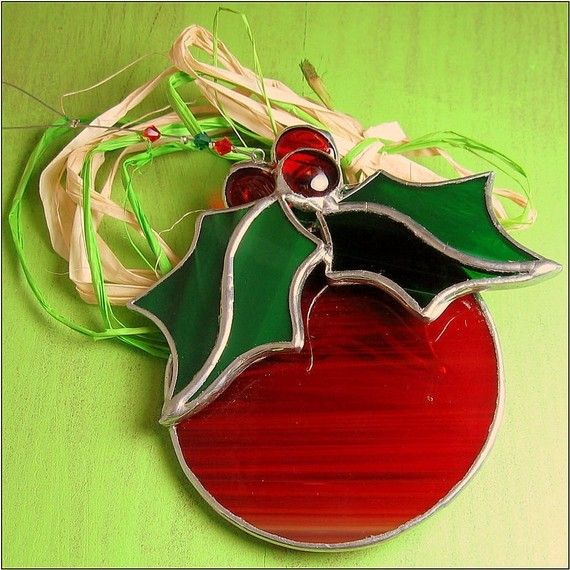 FREE POSTAGE - Stained glass Christmas Bulb Round 3 D Holiday Ornament Red