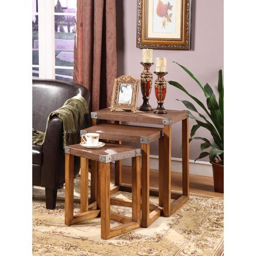 Bella Raffia Set Of Three Tables Nesting Accent Living Room Furniture