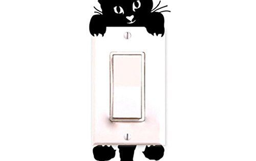 Chat Autocollant Mural, Interrupteur Décorations Chambre de bébé Stickers Noir: Matière: PVC Couleurs: Noir Utiles: Choisissez où coller…