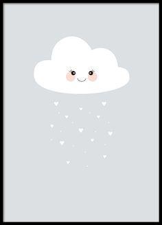 Een schattige kinderposter met illustratie van een wolk en hartjes-regen. Erg schattige voor in de kinderkamer, deze wolk zal uw kleine schat beschermen en liefde verspreiden. www.desenio.nl