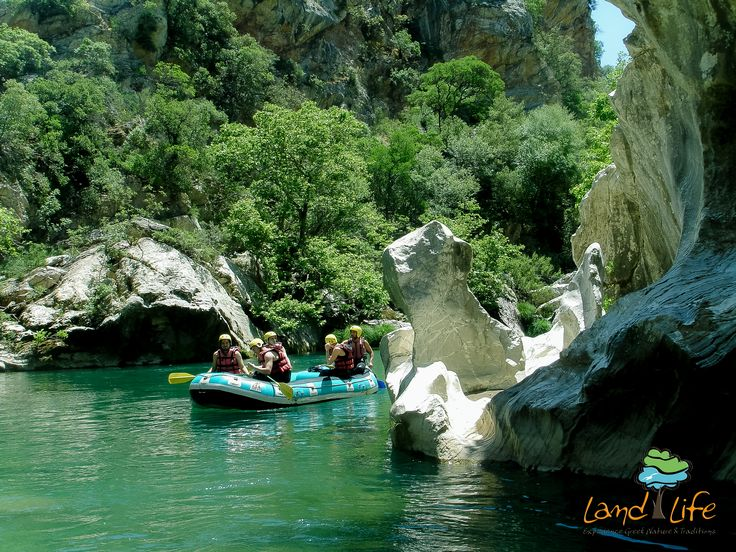Spectacular rafting experiences at Lousios river in Peloponnese of Greece