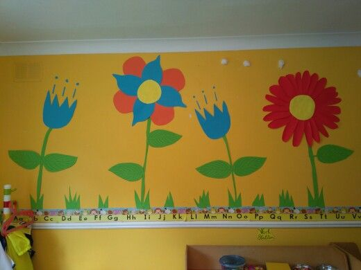 spring in the playschool! This is our wall for this month.the theme is flowers and insects