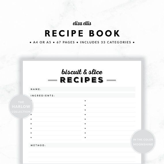 PLANNER ESSENTIALS - RECIPE BOOK - THE HARLOW PLANNERS IN MOONSHINE  Create your own family recipe book! Keep all your beautiful heirloom recipes and family favorites together so you can easily find them when you need them - and pass them down to future generations! Featuring 33 sections (each with a follower), you can print as many of each page as you need, whenever you need!  > SPEND $20 AND GET 20% OFF!!! JUST USE CODE PERFECTPLANNER  > FEATURES  ▪️ loads of sections so you