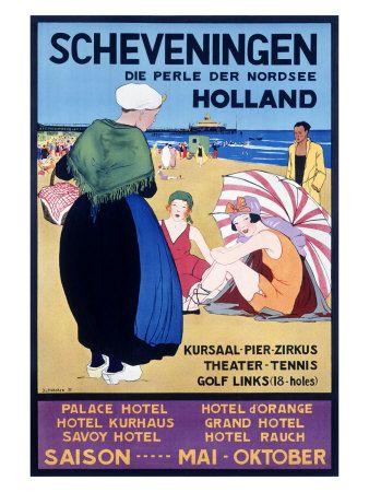 Scheveningen - The Netherlands - Holland vintage travel poster