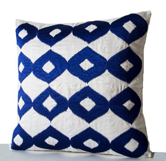 Decorative Throw Pillow Royal Blue Pillows White by AmoreBeaute