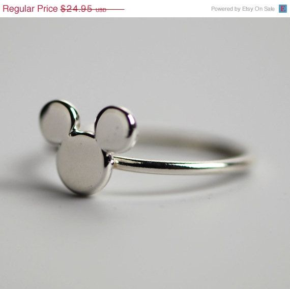 ON SALE Mickey Mouse Ring - Disney Ring - Disney Jewelry - Mickey Mouse Jewelry - Argentium Sterling Silver - Handmade. $19.96, via Etsy.