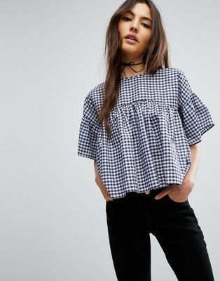 ASOS - Top smocké à carreaux vichy