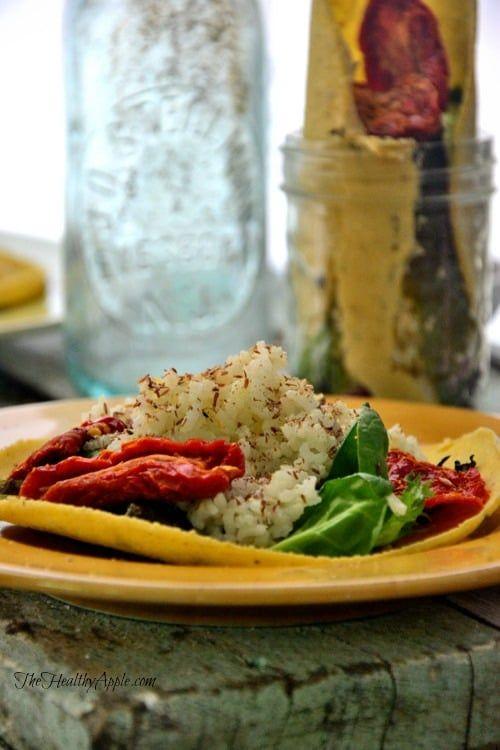 Open Faced 'Creamy' Jasmine Rice Vegan Tacos