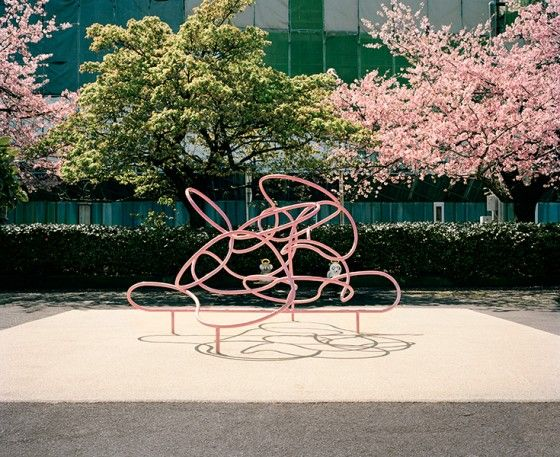 pink squiggle play structure