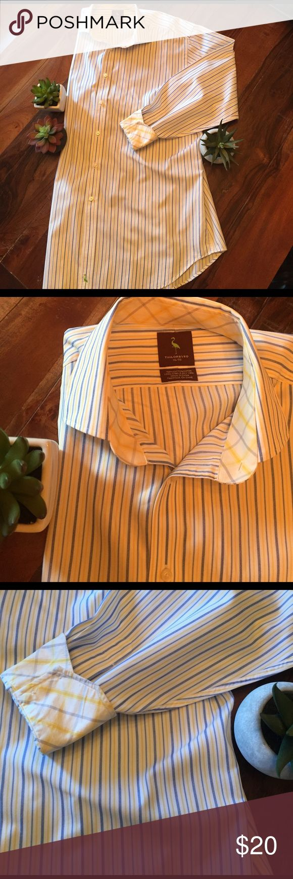 🌹Bundle me!🌹Men's blue/yellow dress shirt Men's Tailorbyrd blue and yellow pinstriped dress shirt w/ plaid cuff and neck detail. Size XL. Only worn once, excellent condition. Tailorbyrd Shirts Dress Shirts