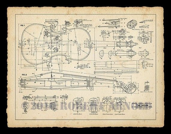 "Color Print of a 19th Century Violin Maker's Plans - 11"" x 14"" on Etsy, $16.89 AUD"