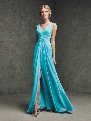 A-Line/Princess Sleeveless V-neck Chiffon Ruched Floor-Length Dresses - Prom Dresses 2017 - Prom Dresses - Sweet Dressy