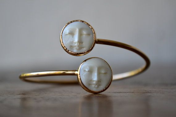 MAN In The MOON Bangle /// Electroformed Carved Bone Moon /// Gold/// Bracelet on Etsy, $90.00