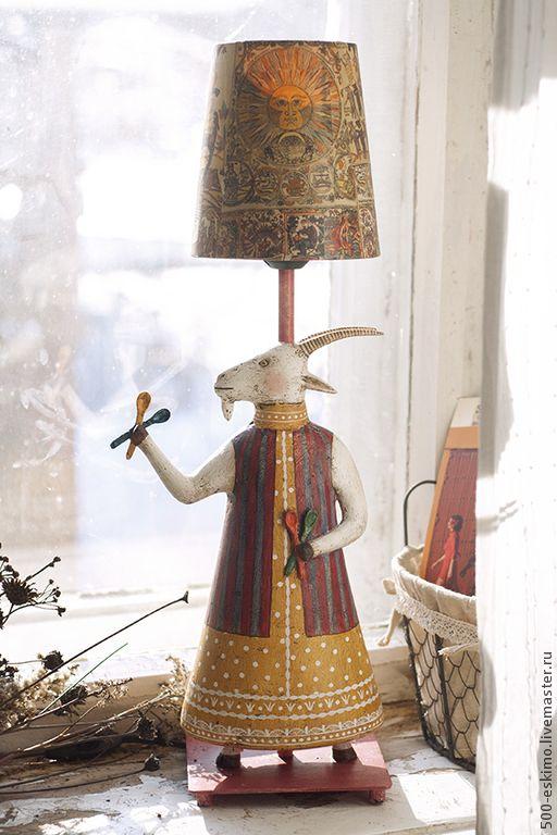 """Купить Лампа """"Коза с ложками"""" - коза, лубок, настольная лампа, светильник, ночник, папье-маше"""