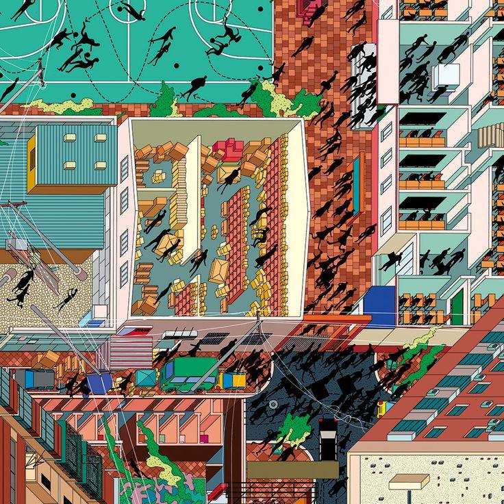 Isometric map by «Drawing architecture Studio» (China, Pekin-Beijing) with Li Han and Hu Yan (Tuan Jie Hu place)