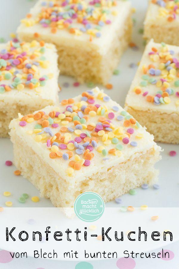 Diese schnelle Konfetti-Torte ist ein echter Hingucker für Kindergeburtstagsfeiern …   – Blechkuchen Rezepte