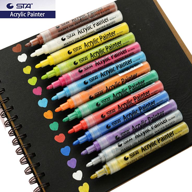 Cheap permanent marker sets, Buy Quality colored permanent markers directly from China paint markers for wood Suppliers: STA permanent colored paint markers set for Wood Tyre Car Metal Fabric plastic Round Fine nib water-based ACRYLIC PAINTER PENS