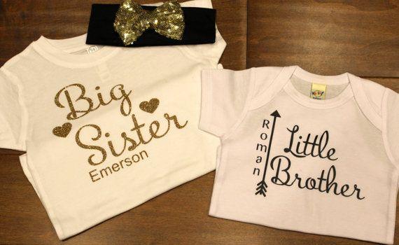 Big Sister Shirt Little Brother Shirt Sibling shirt by PurpleAspen