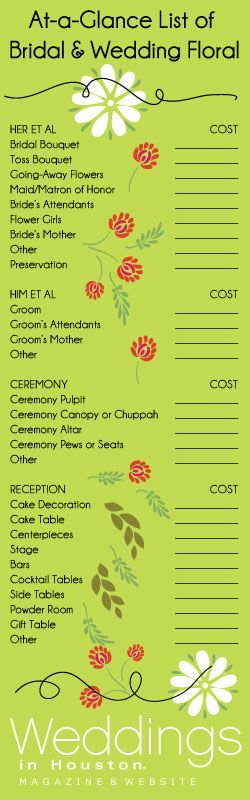 Flowers, flowers, and more flowers! Get organized with this flower checklist for your wedding.