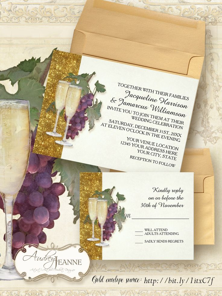Painterly wine grapes and champagne flutes with gold glitter in a complete wedding invitation set and related reception and shower products.  #wine #winery #vineyard #grapes #champagne #glasses #gold #glitter #elegant #wedding #invitation #rehearsal #dinner #audreyjeanne #trending #popular #theme