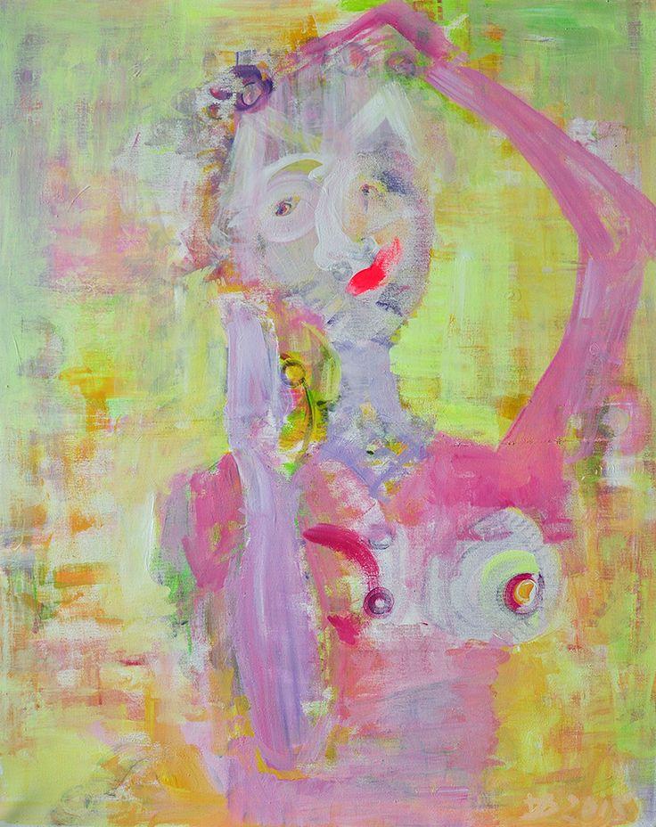 Cat woman, Acrylic on canvas, 80x100, 2015, Portrait, Painting