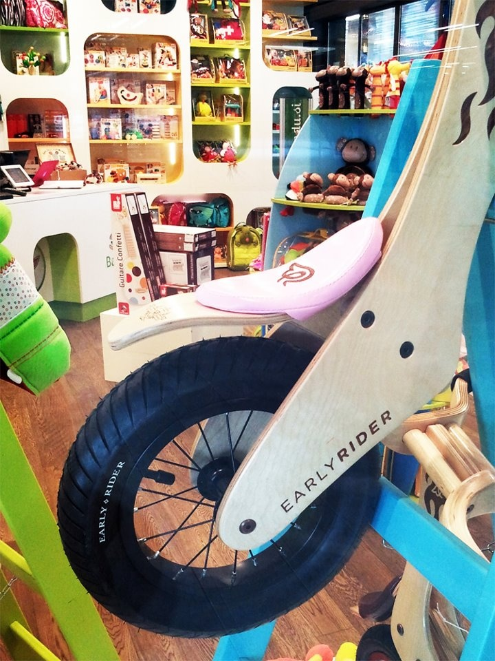 Babadu toy store, Slovenia, gloriously displaying an Early Rider Classic in pink