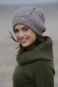 How to Make a Slouchy Hat With Old Clothes thumbnail Or I could just knit something like this because it's cute :-):