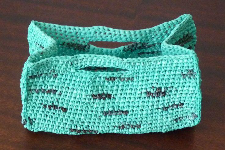 Crochet Wire Bags : Crochet basket from plastic bags (Docinho da Prelada)