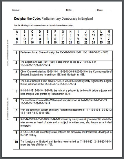 Parliamentary Democracy in England - Free Printable Decipher the Code Puzzle for World History