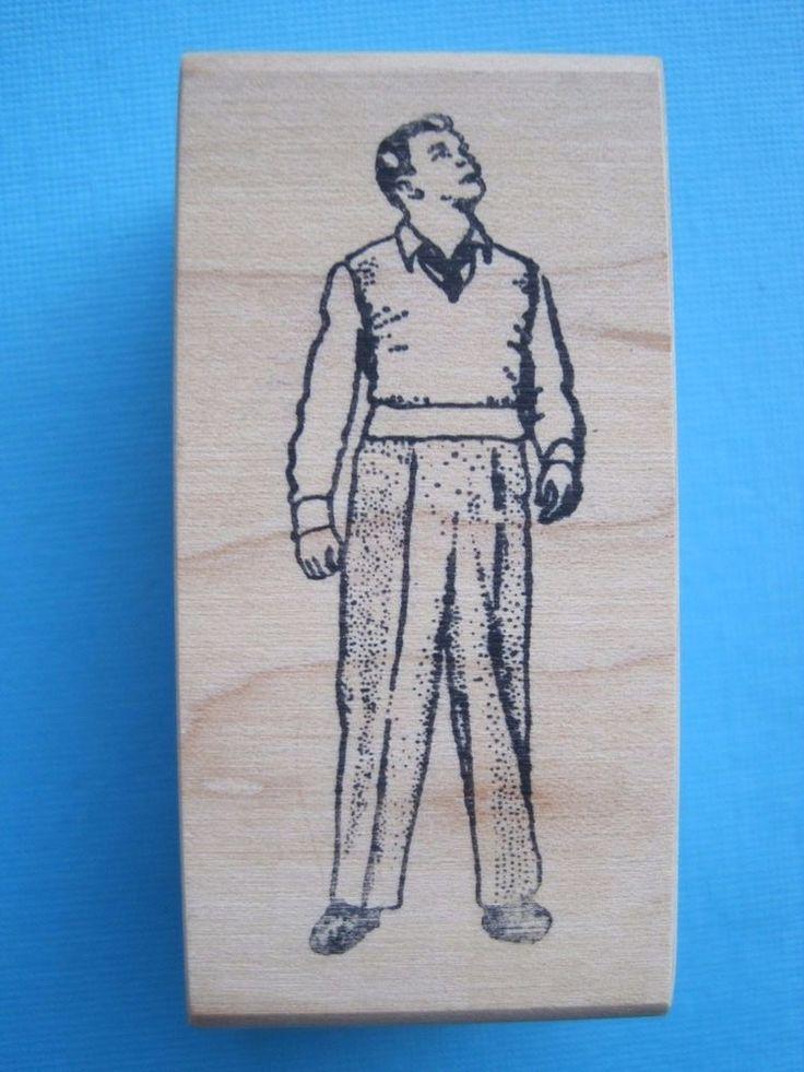 MAN LOOKING UP - Rubber Stamp - Ken Brown Vintage Retro Funny Weird Strange Guy  | eBay