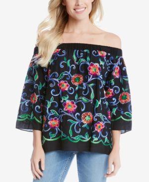 Karen Kane Embroidered Off-The-Shoulder Top - Black