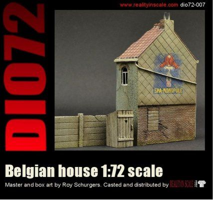 This is a typical Belgian House including a small outhouse, a concrete fence and a full colour decal. Kit contains 4 highly detailed resin parts. Comes packed in a handy cardboard box. The house (excl. fence) measures 6 x 11cm (WxH).