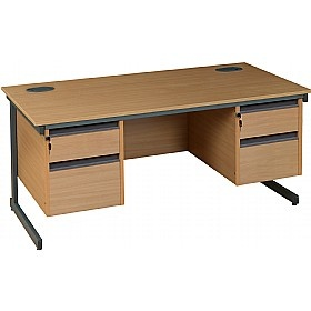 #OfficeDesks - NEXT DAY Nova Plus Rectangular Cantilever #Desk With Double Fixed Pedestals come in 2 sizes and adjustable height feet to stabilize the desk on uneven surfaces. This desk comes with 18mm modesty panels that can be mounted on both left or right hand side of the desk. Choose from 2 wood colours to match your office interiors.