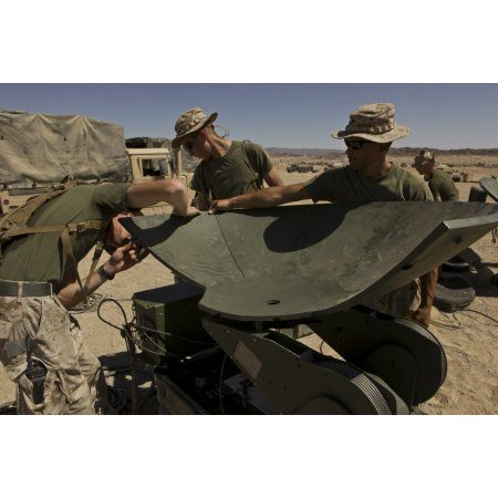 US Marines assemble a support wide area network satellite dish Canvas Art - Stocktrek Images (35 x 23)
