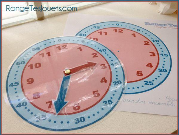 Apprendre à lire l'heure. Pendule d'apprentissage prête à imprimer - Rangetesjouets.com