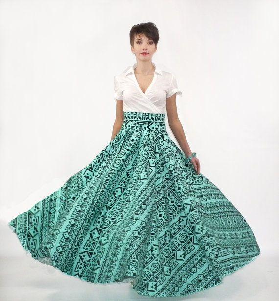 maxi skirt color circle skirt tribal print