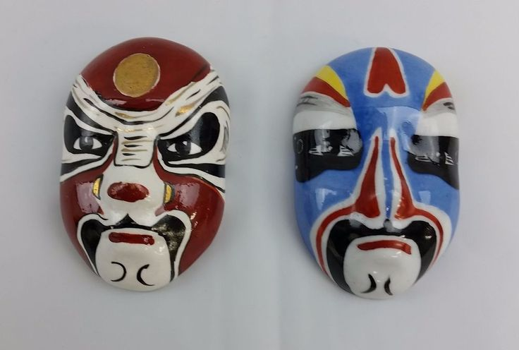 Chinese Miniature Opera Masks Ceramic Oriental Mini Faces Asian Wall Decoration #Unbranded #AsianOriental