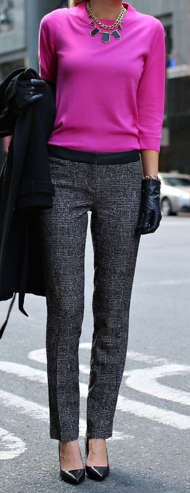 tweed slacks and pink sweater complete with chunky statement necklace and chic leather gloves