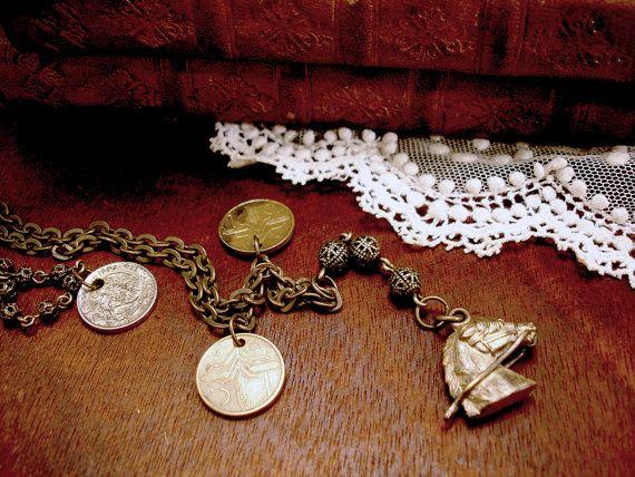 Vintage Pferd Charm Halskette mit Pferdesport von UrbanHeirlooms