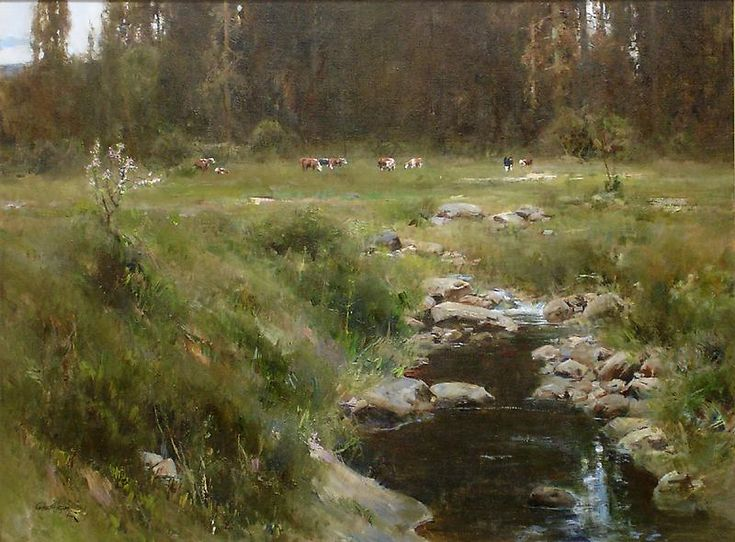 """Cyrus Afsary, HIGHLAND MEADOW, Oil, 30"""" x 40""""."""
