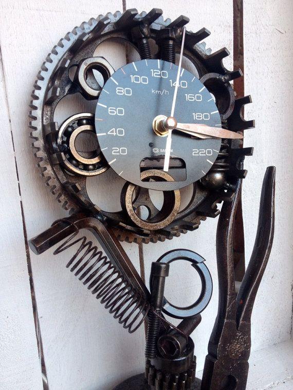 Art metal table clock / Handmade original idea by AtelierIslandArt