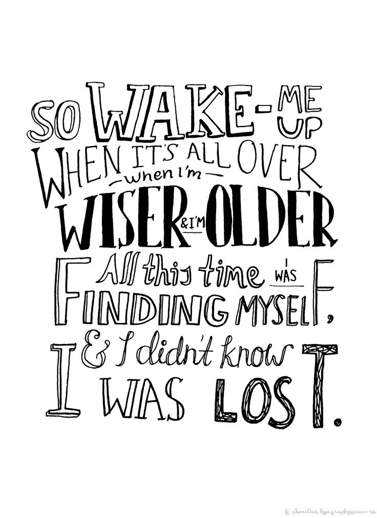 So wake me up when it's all over, when I'm wiser and I'm older. All this time I was finding myself and I didn't know I was lost - Wake Me Up - Aviici