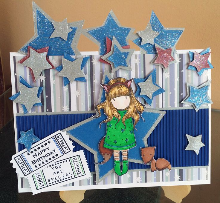 Challenge 33 - Twinkle Twinkle Little Star - Star border and loose stars from the Doodlecharms Cricut cartridge, Gorjuss stamp, coloured with Copics. Papers from Fizzy Moon Christmas for Him