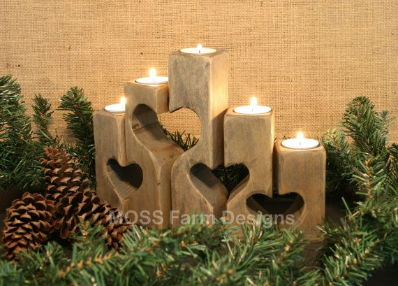rustic heart linked family candle holders wedding gift. Black Bedroom Furniture Sets. Home Design Ideas