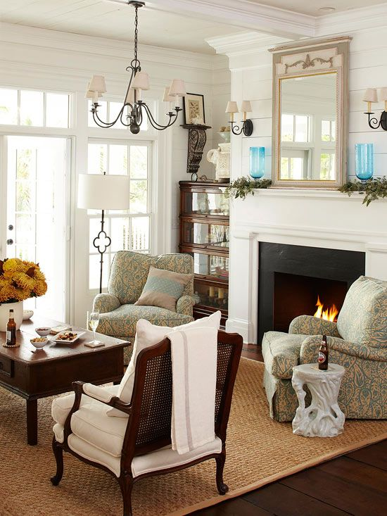 Good Idea for Rec Room: Ideas, Fall Decor, Furniture Arrangements, Chairs, Fireplaces, Interiors Design, Cozy Living Rooms, House, Families Rooms